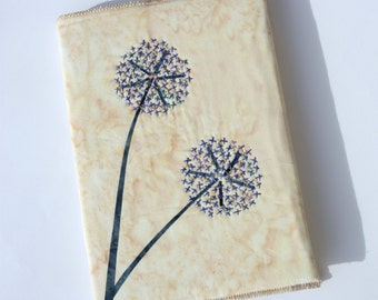 Alliums Hand Stitched A5 Journal / Notebook Cover, Cream, Blue & Gold