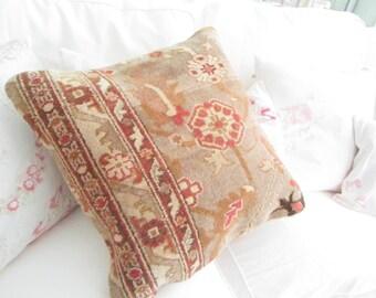 Bohemian Vintage fabric pillow  shabby chic  prairie cottage Bohemian gypsy