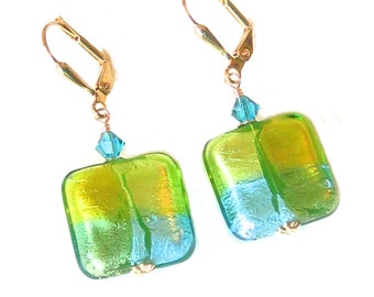 Murano Glass Green Aqua Square Earrings, Leverback Earrings, Venetian Jewelry, Italian Jewelry