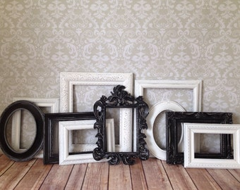Black and White Vintage Style PICTURE FRAMES -shabby chic wedding - Black and White - Glass, Easel n Hanging Backing