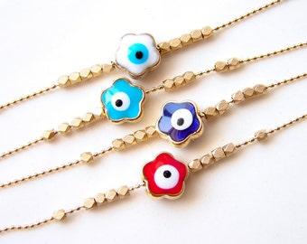 Flower Evil Eye Bracelet. Dainty Ball Chain. Modern Simple Everyday Jewelry by smallbluethings