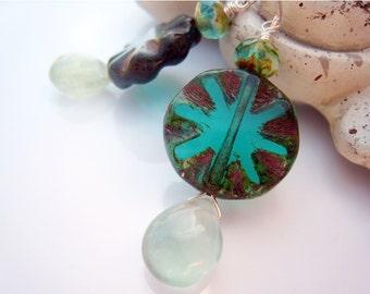 Blue Green Earrings Czech Glass Earring Fluorite Drop Earrings Sterling Silver Hand Forged Ear Wires Gift