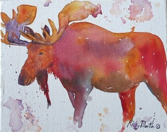"""Moose, Wild Life -  FREE SHIPPING - 10"""" x 8"""" Vibrant Modern  Abstract Original Watercolor Painting by Ricky Martin"""