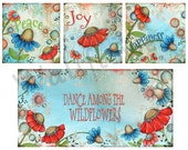 Wildflowers Print Set ~ Flower Wall Art ~ Wild Flowers ~ Bedroom Wall Art~ Home Decor ~ Living Room Art ~  Happiness Joy Peace ~ Garden Art