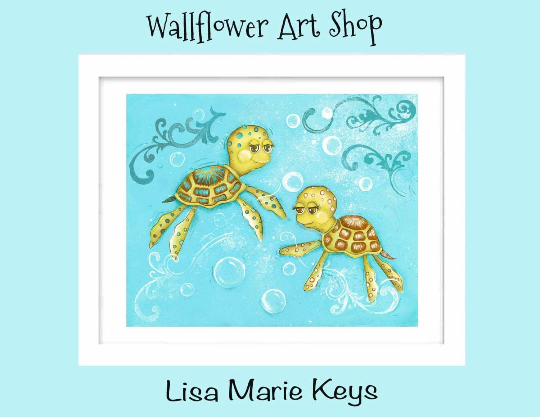 Turtle Bathroom Decor: Sea Turtle Children's Wall Art Ocean Bathroom Decor