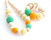 Colorful set of 2. Teething ring toy and nursing necklace. Multicolor rattle for baby and mom. Fall color