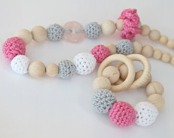 Pink and grey set of 2. Teething ring toy and nursing necklace. Bright pink, white, grey rattle for baby and mom.