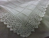Hand knit block pattern Baby Blanket with Beautiful Crocheted Edge - made to order