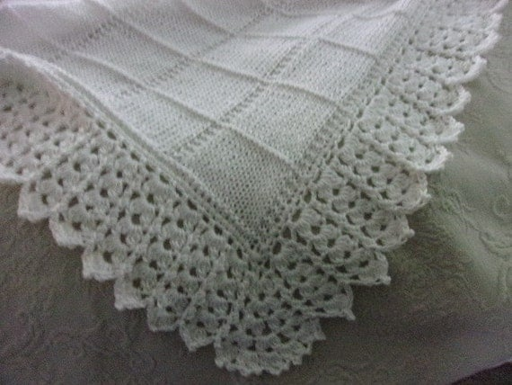 Baby Cot Blanket Knitting Pattern : Hand knit block pattern Baby Blanket with Beautiful Crocheted