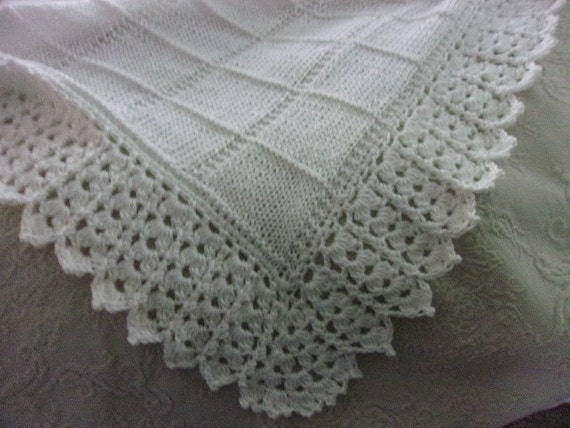 Hand knit block pattern Baby Blanket with Beautiful Crocheted