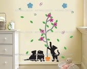 Cats Playing with Pink Flower Tree - PEEL and STICK Removable Vinyl Wall Decal, Wall Sticker, Wall Decor (FREE shipping)