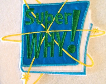 Super Why Book Inspired Iron on  Patch