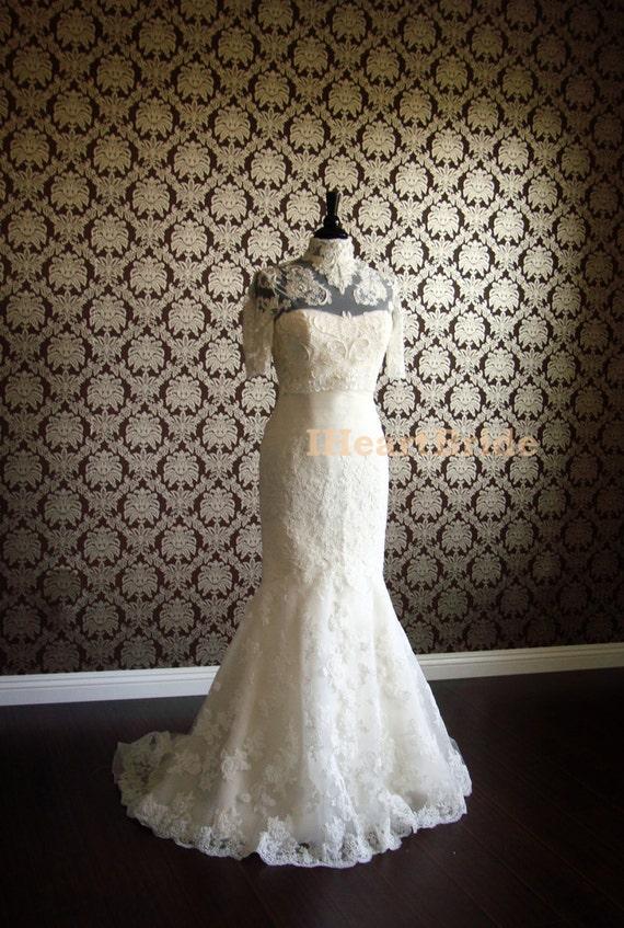 Fancy Bridal Bolero Beaded Lace Couture Bolero Jacket High Collar ...