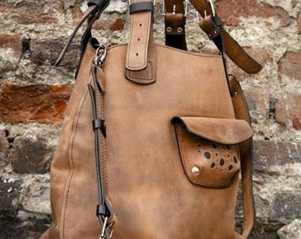 Brown Leather Oversized Bag ladybuq
