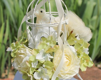 White Yellow Rococo Bird Cage Rose Floral Hat -- Marie Antoinette Wedding Headpiece -- Fascinator -- Sweet Lolita, Classic Lolita