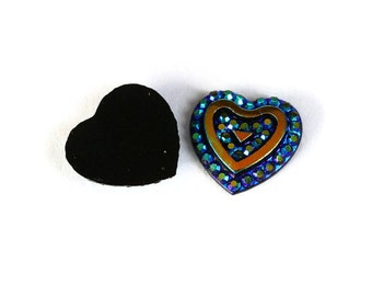 10 blue heart resin cabochon 12mm - AB color cabochon - Resin cabochon - Textured cabochons (1466) - Flat rate shipping
