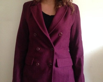 Burgundy Peacoat-styled Button-Up Jacket Size Medium with Two Front Pockets