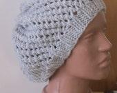 handmade hand knitted gray grey marl wool beanie beret hat