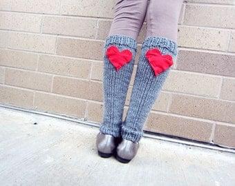 Leg Warmers Knit Gray Red Heart Valentines Day Teen Leggings Womens Ladies Adult Crochet