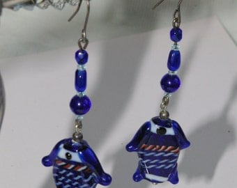 Pierced Earrings - Lampworked Cobalt Blue Glass Fish and Beads - Long and Dangly - 1980s