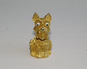JJ Jonette Googly Eyed Scottie Dog Brooch - Gold Tone - Perfect Condition