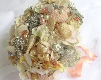 Blush Sea Shell Bouquet, Ready to ship, Brooch Bouquet,
