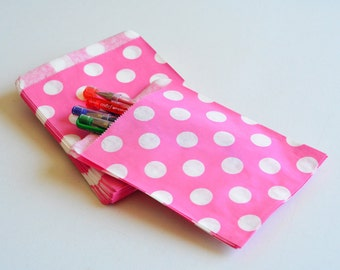 """75 Patterned Pink Dots Paper Bags Size 5 1/8 x6 3/8"""" -Candy Bags -Birthday Paper Bags -Pink white polka dots paper bags -Wedding Favor Bags"""