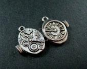 6pcs 12x20mm vintage antiqued silver alloy steam punk watch movement DIY pendant charm jewelry supplies 1830030