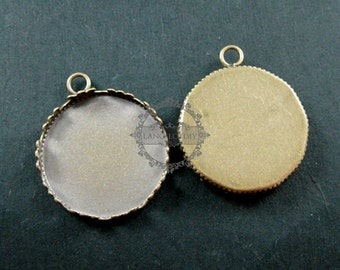 20pcs 20mm setting size one loop vintage style bronze crown round bezel tray DIY pendant charm supplies 1411052