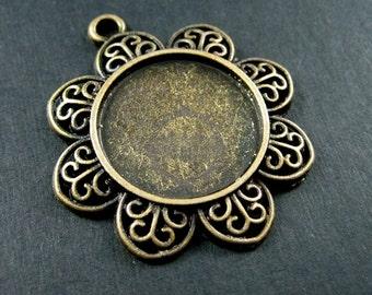 5pcs 20mm setting size vintage style bronze flower round pendant charm bezel base DIY supplies 1411071