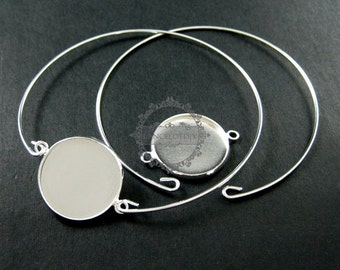 5pcs 65mm diameter 1mm thick silver plated simple wiring bracelet with 20mm setting tray DIY bangle supplies 1900053