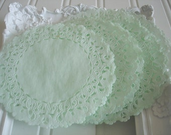 Mint Green Paper Doilies  Dyed Set of 20 French  lace paper doilies. Small 4 inch.  Cupcakes, Weddings, Baby Shower, Scrapbooking. Gift Wrap