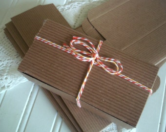 Pinstripe Brown Kraft Candy Boxes - ( 6) 1/2 lb   Candy Boxes for Party Favors, Candy and Treats