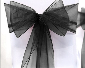 Chair Sashes 100 Wedding Chair Sashes Chair Bows Black Organza Pew Bows Party Bows Event