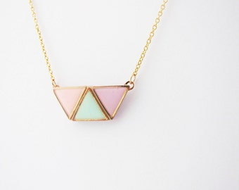 Geometric pastel necklace. Minimalistic necklace.  Trapezium necklace