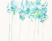 Turquoise Landscape Art Painting - Original watercolor flower 8x11, floral dreamy blue sky  decor illustration - Blue Abstract Flower