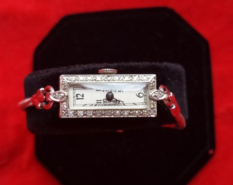 Phenomenal Collector's Item Dainty Art Deco OLLENDORFF 14K White Gold 24 Diamonds Ladies Watch SERVICED Look and Shop for Birthdays Weddings
