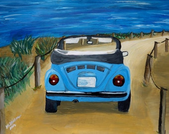 The VW Bug Series - The Blue Volkswagen Bug at the Beach - Limited Edition Fine Art Print
