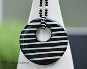 Black white striped statement necklace, large black white striped round pendant, black and white beaded necklace, everyday necklace