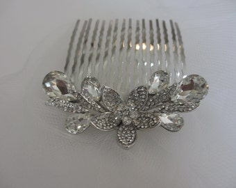 Lotus Hair Comb -  Wedding Hair Comb, Bridal Veil , Bridal Hair Accessories, Veil Comb