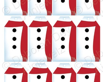 Christmas tags Gift Tags snowman tags  Instant Download Printable tags  snowmen scrapbooking tags craft tags red scarf craft tags hang tag
