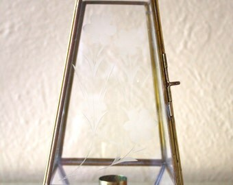 Vintage Etched Glass and Brass Candle Holder