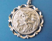 Lovely Vintage Sterling Silver Pendant with Dragon and Asian Characters