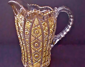 Beautiful Vintage Pattern Glass Water Pitcher with Metallic Gold Decoration