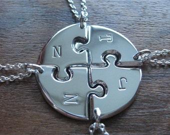 Four Personalised Puzzle Piece Circle Pendant Necklaces