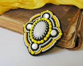 SALE Bead embroidery Brooch Beadwork Brooch Yellow Black White Brooch Beaded Brooch Cabochon Brooch Oriental Ethnic jewelry 50% OFF