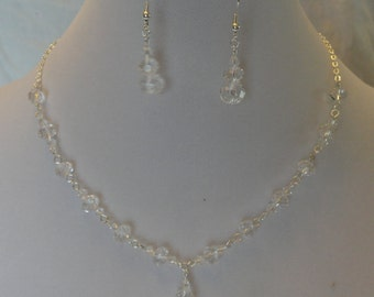 Crystal Drop and Silver Chain Necklace and Earring Set