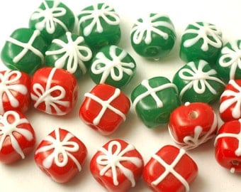 20 Handmade Lampwork Glass Beads --- Christmas Gift Packages