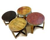 "The ""Snap"" Wine & Bourbon Barrel End Tables (Red, Burgundy, Black, Oak, Round Tables)"