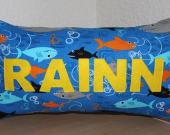 Sharks Name Pillow / Custom Kids Pillow / Name Pillow / Fish Pillow / Sharks Decoration